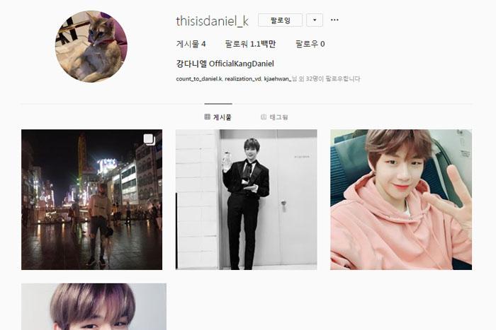 [韩国普通] 姜丹尼尔开通Instagram仅11小时粉丝已破百万,历代级人气!!